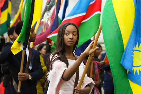 Flag bearers at the Commonwealth Service