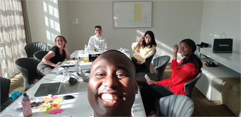 selfie at team meeting