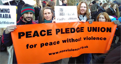 Peace Pledge Union demonstrating against arms sales to Saudi Arabia